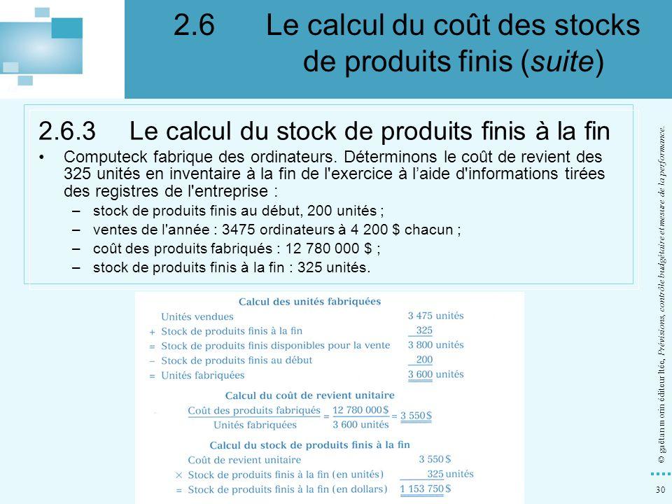 2.6 Le calcul du coût des stocks de produits finis (suite)