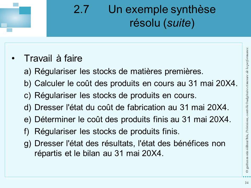 2.7 Un exemple synthèse résolu (suite)