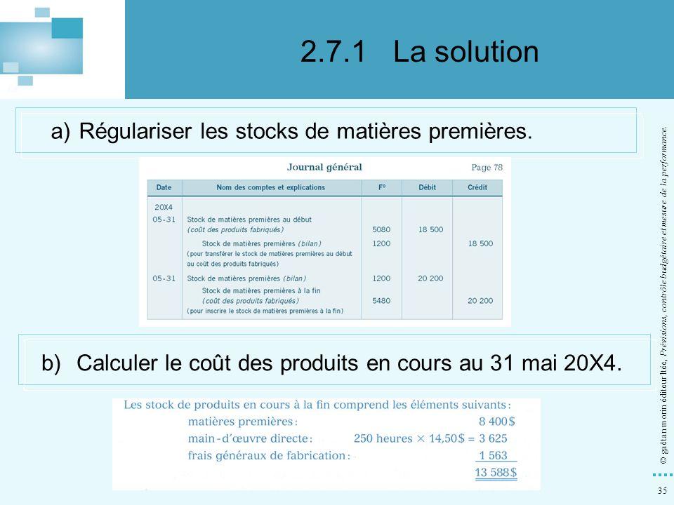 2.7.1 La solution a) Régulariser les stocks de matières premières.