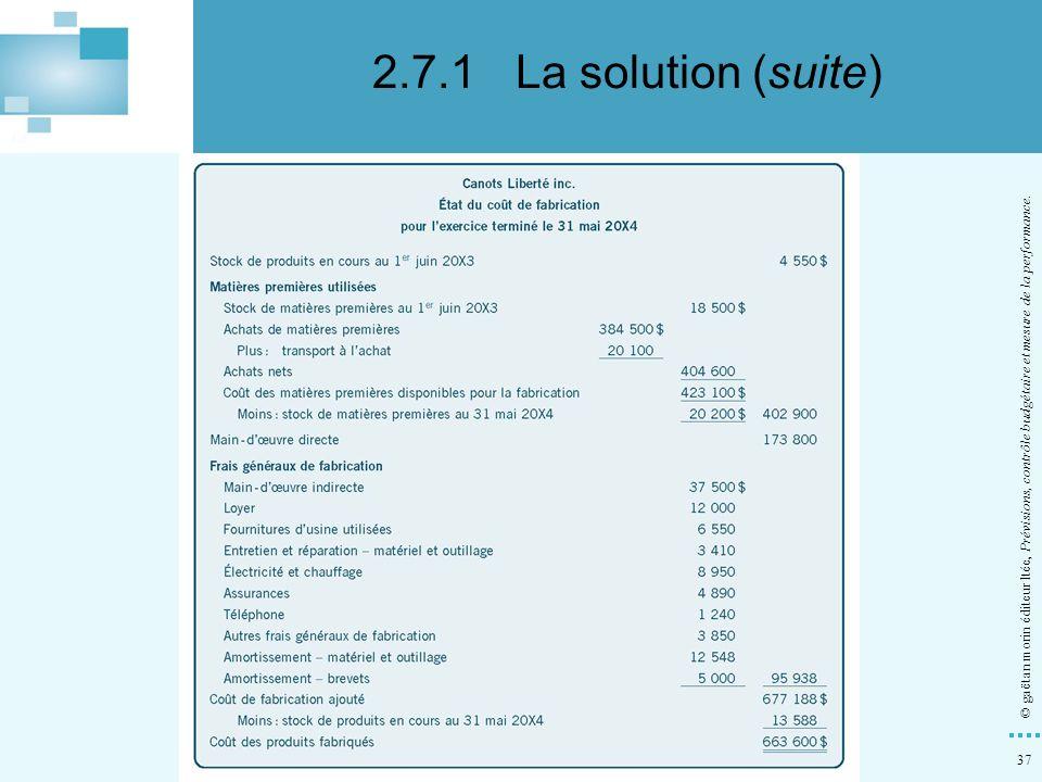 2.7.1 La solution (suite) d) Dresser l état du coût de fabrication au 31 mai 20X4.