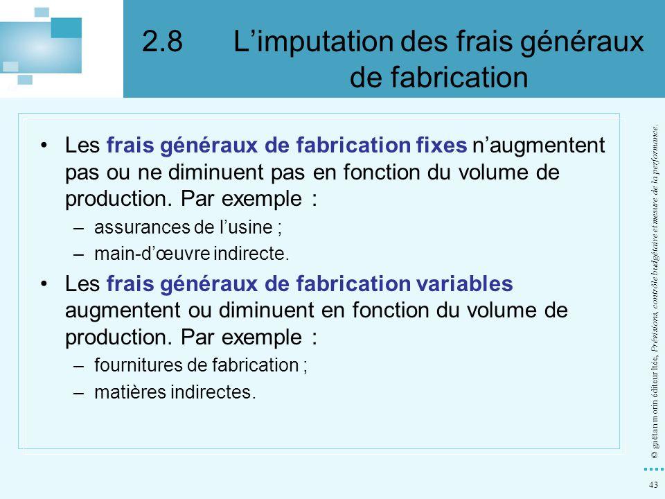 2.8 L'imputation des frais généraux de fabrication