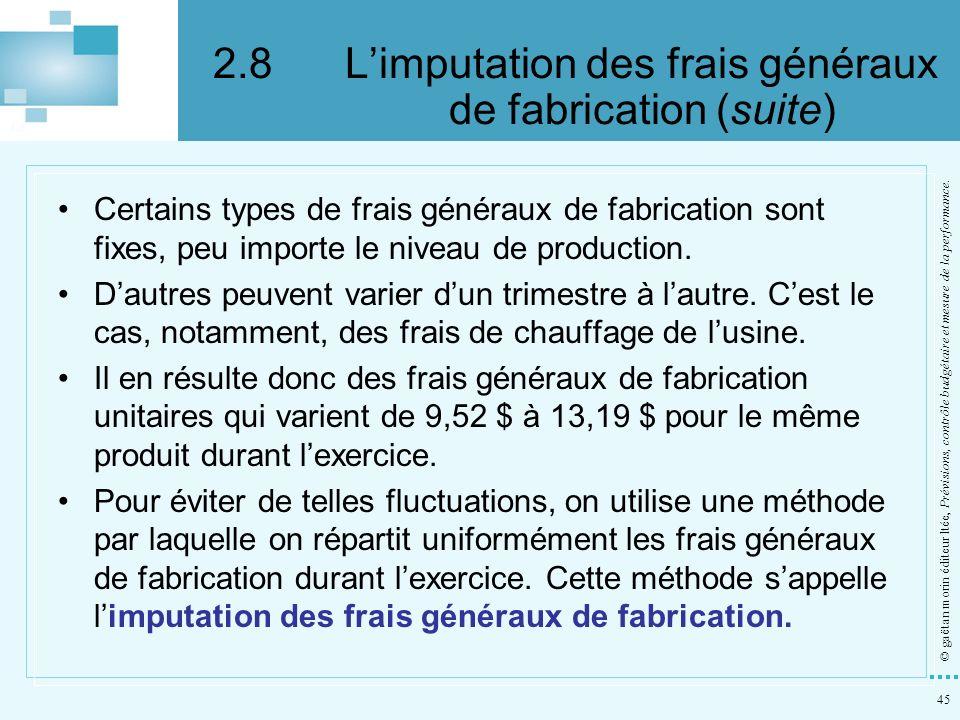 2.8 L'imputation des frais généraux de fabrication (suite)