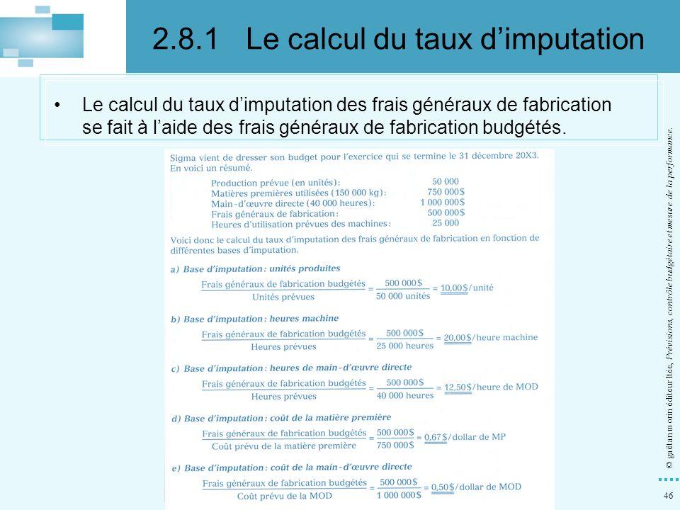 2.8.1 Le calcul du taux d'imputation