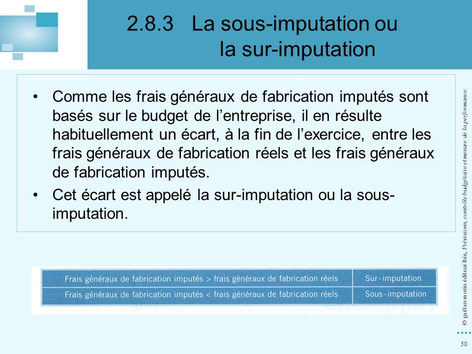 2.8.3 La sous-imputation ou la sur-imputation