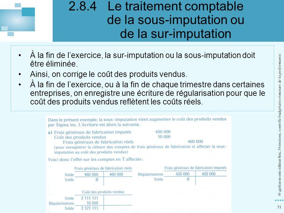 2.8.4 Le traitement comptable de la sous-imputation ou de la sur-imputation