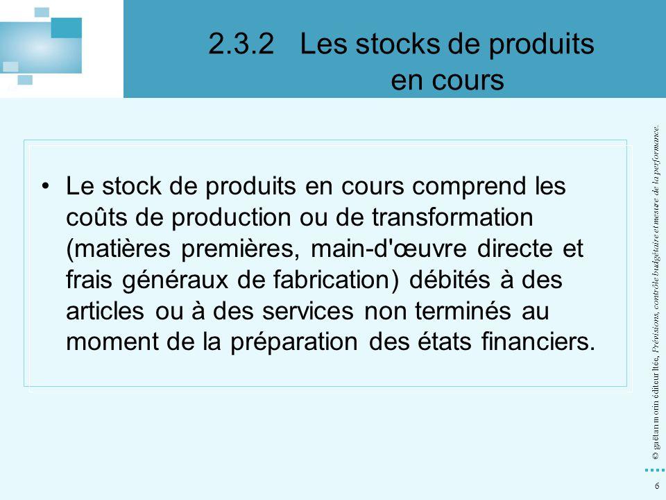 2.3.2 Les stocks de produits en cours