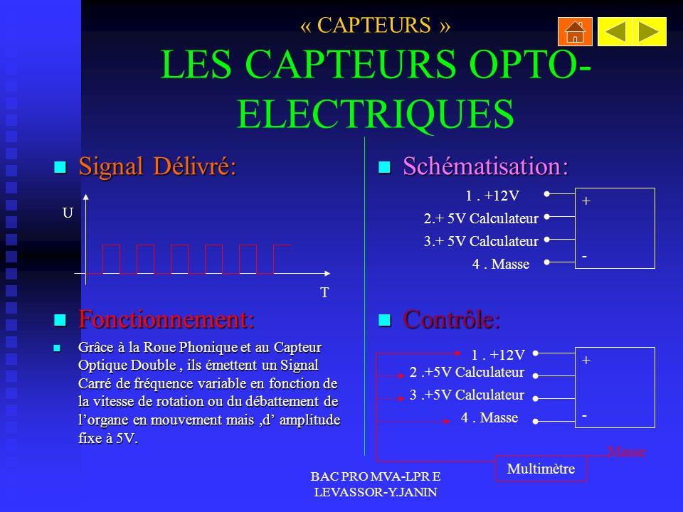 « CAPTEURS » LES CAPTEURS OPTO-ELECTRIQUES
