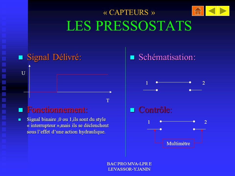 « CAPTEURS » LES PRESSOSTATS