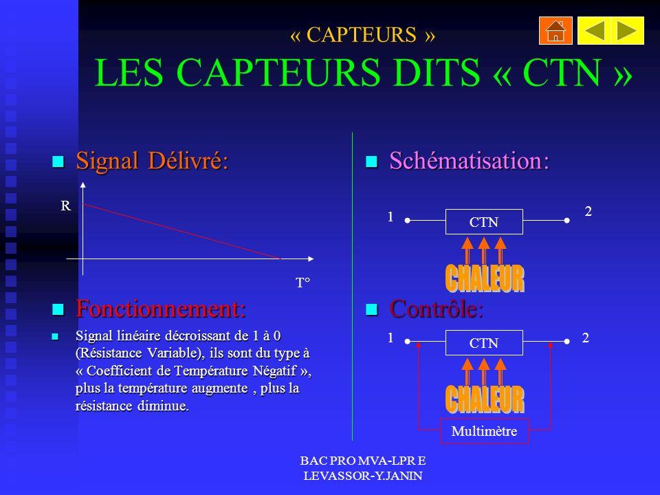 « CAPTEURS » LES CAPTEURS DITS « CTN »