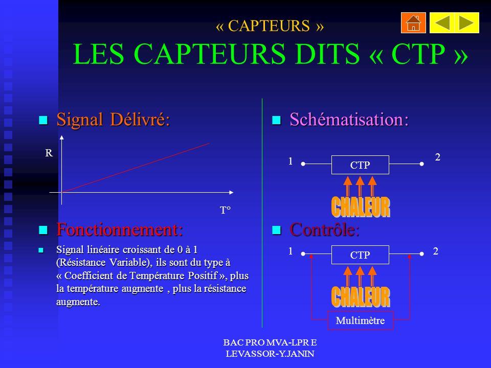 « CAPTEURS » LES CAPTEURS DITS « CTP »