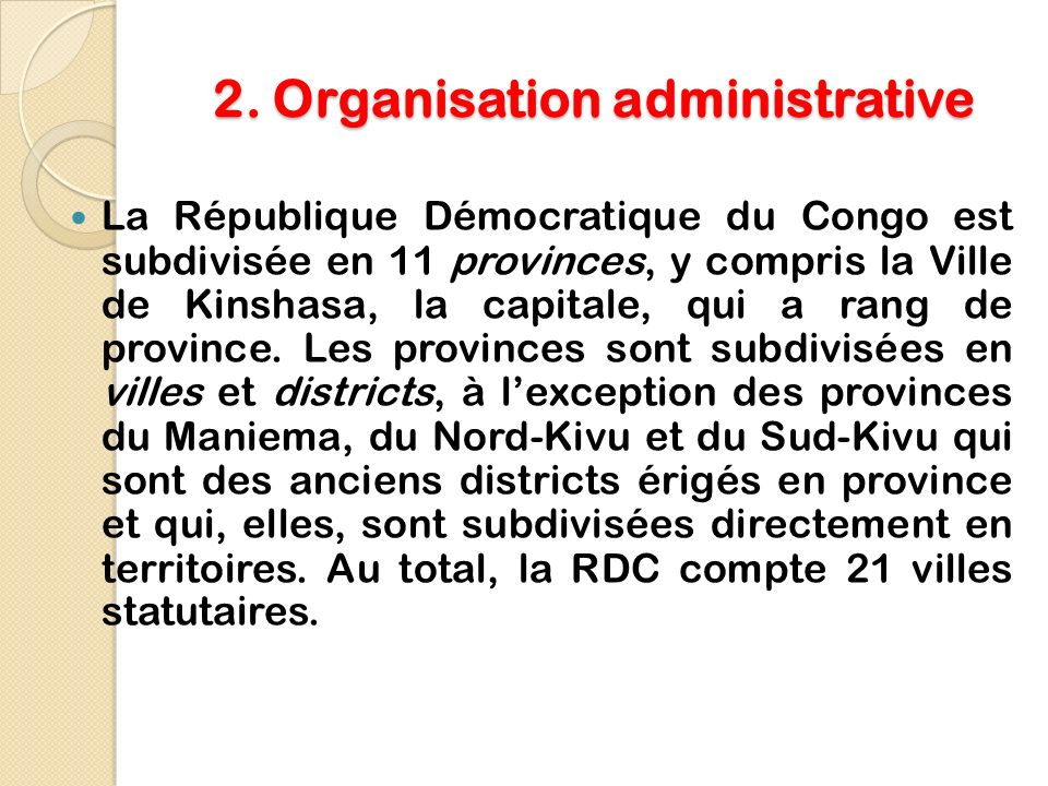2. Organisation administrative