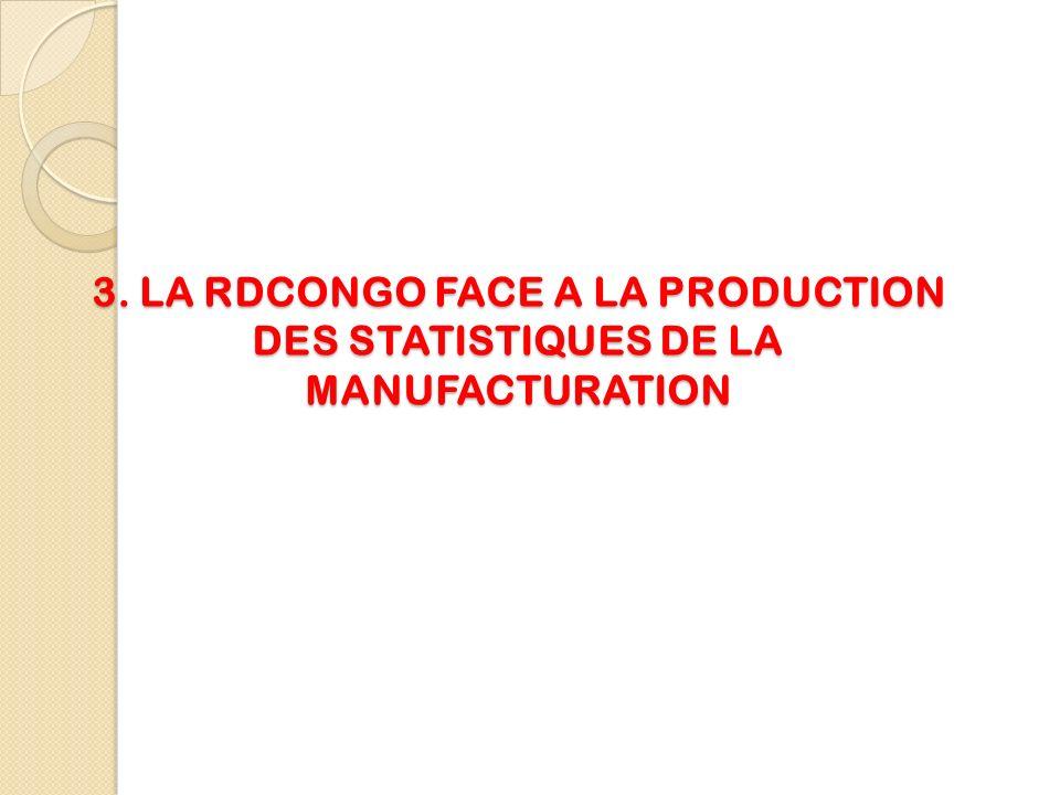 3. LA RDCONGO FACE A LA PRODUCTION DES STATISTIQUES DE LA MANUFACTURATION