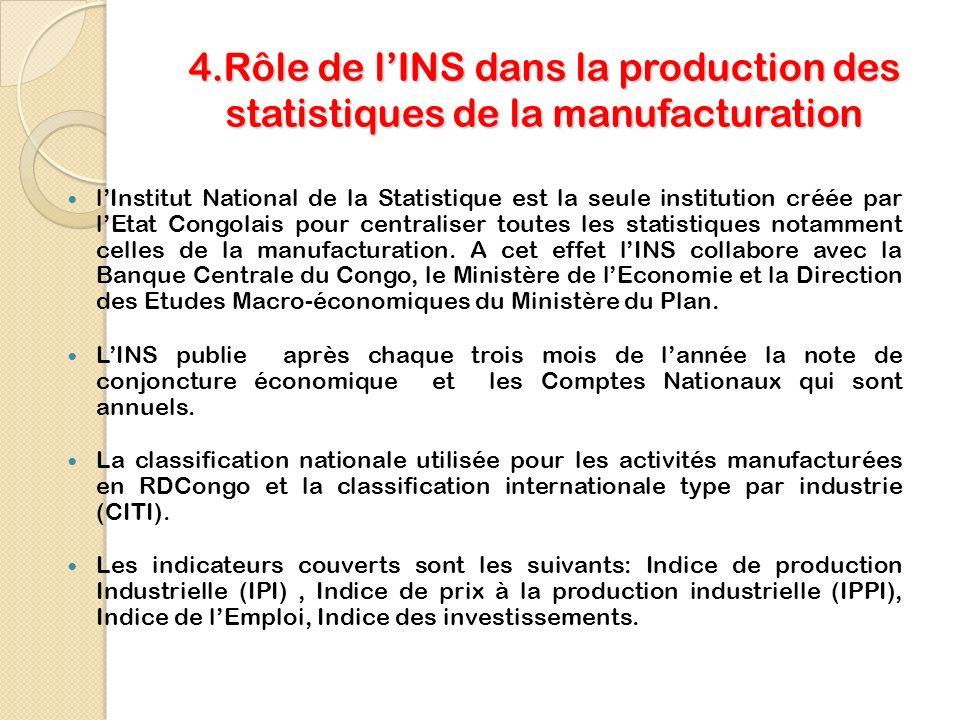 4.Rôle de l'INS dans la production des statistiques de la manufacturation