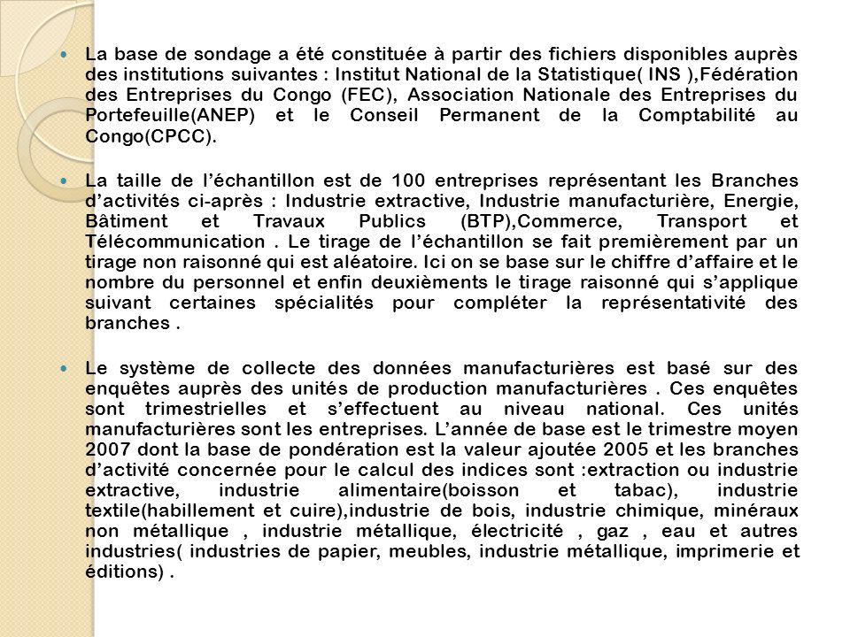 La base de sondage a été constituée à partir des fichiers disponibles auprès des institutions suivantes : Institut National de la Statistique( INS ),Fédération des Entreprises du Congo (FEC), Association Nationale des Entreprises du Portefeuille(ANEP) et le Conseil Permanent de la Comptabilité au Congo(CPCC).