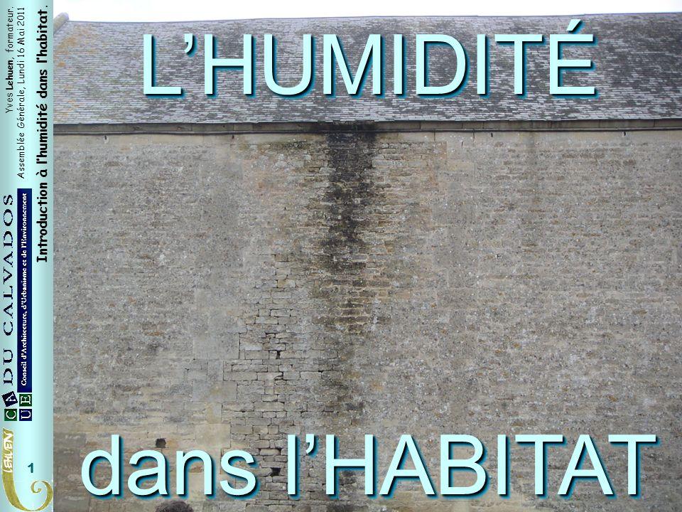 Titre général L'HUMIDITÉ dans l'HABITAT