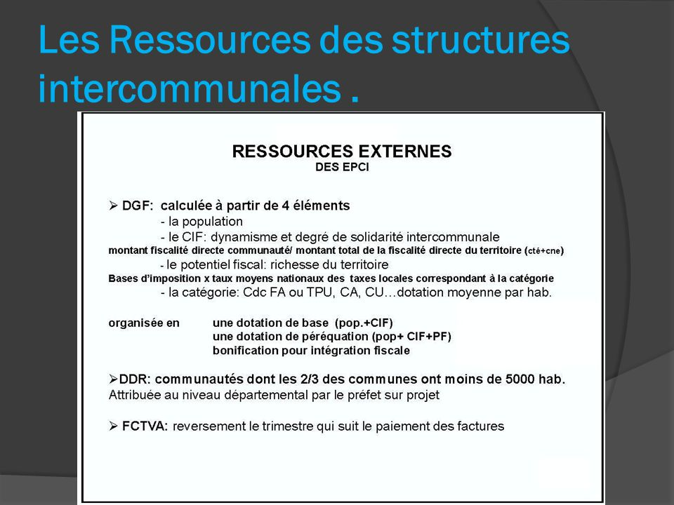 Les Ressources des structures intercommunales .
