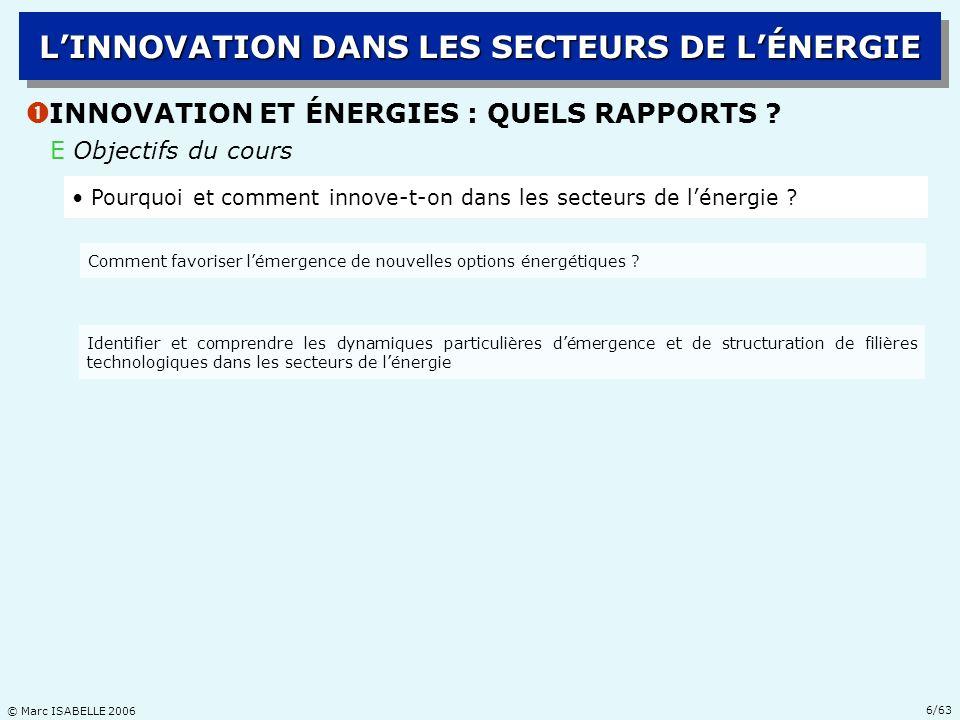 L'INNOVATION DANS LES SECTEURS DE L'ÉNERGIE