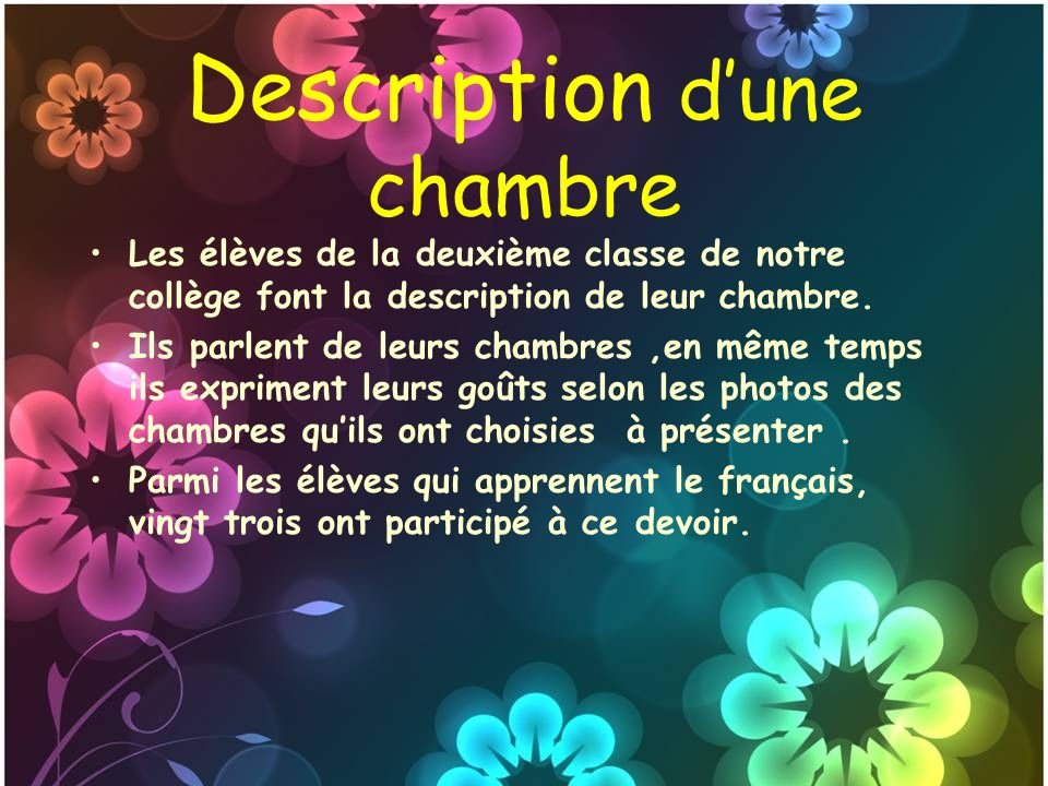 Description d une chambre ppt video online t l charger - Description d une chambre en anglais ...