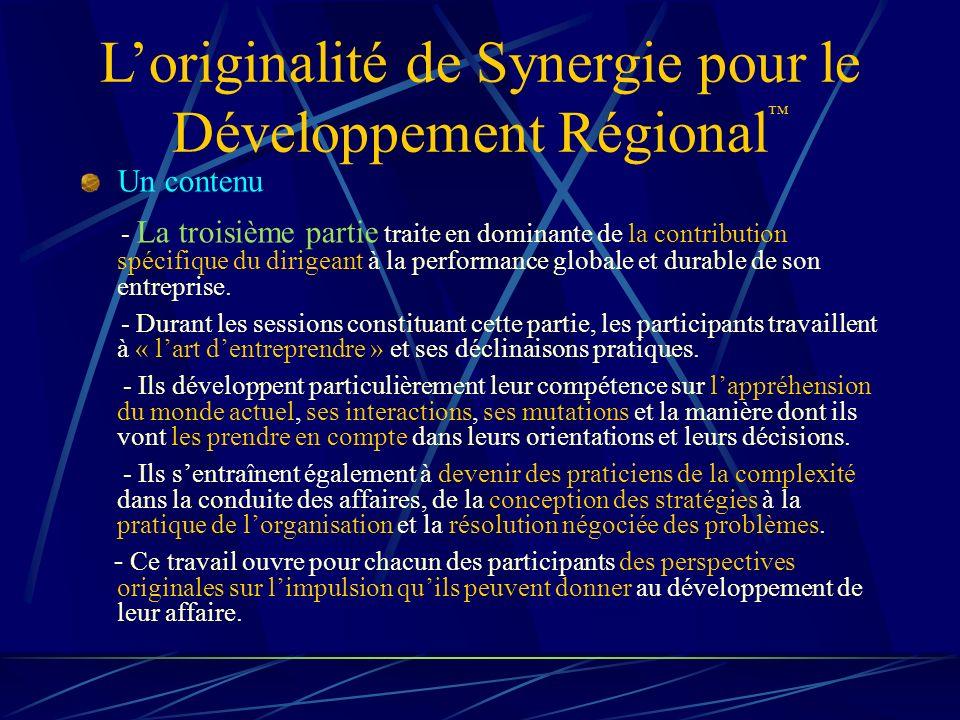 L'originalité de Synergie pour le Développement Régional™