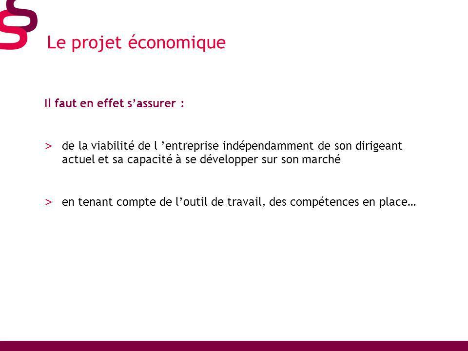 Le projet économique Il faut en effet s'assurer :