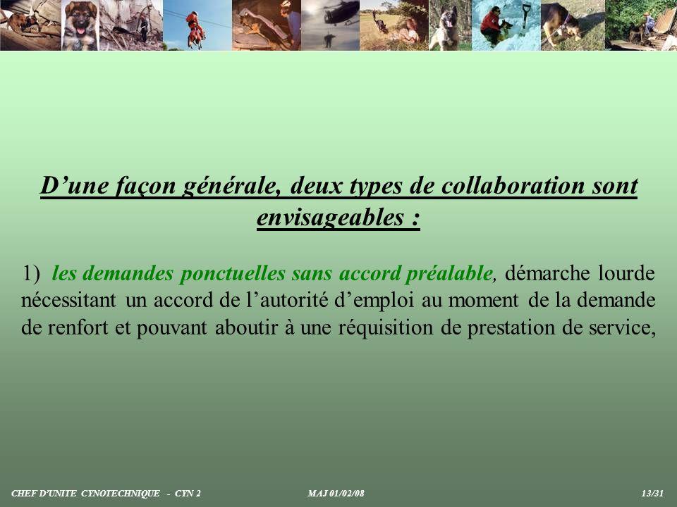 D'une façon générale, deux types de collaboration sont envisageables :