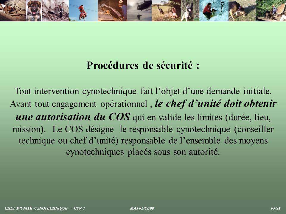 Procédures de sécurité :