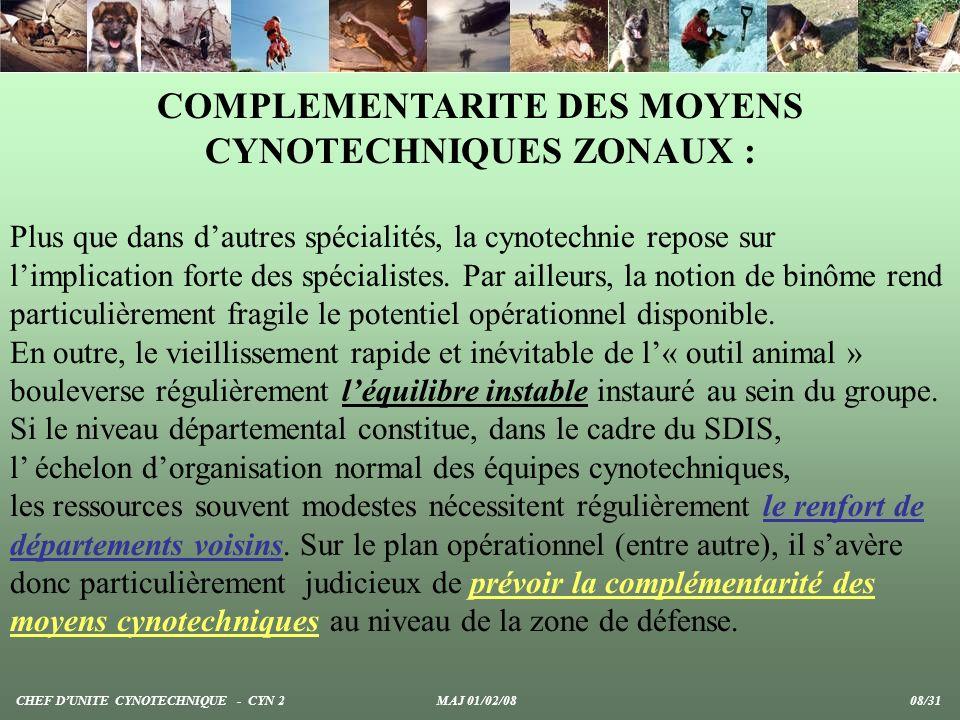 COMPLEMENTARITE DES MOYENS CYNOTECHNIQUES ZONAUX :