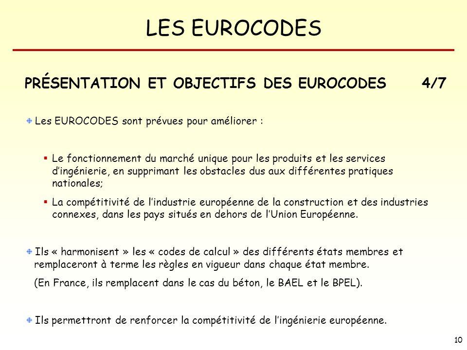 PRÉSENTATION ET OBJECTIFS DES EUROCODES 4/7