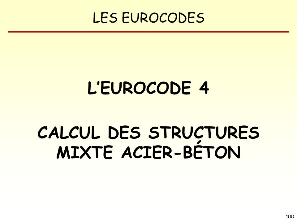 CALCUL DES STRUCTURES MIXTE ACIER-BÉTON
