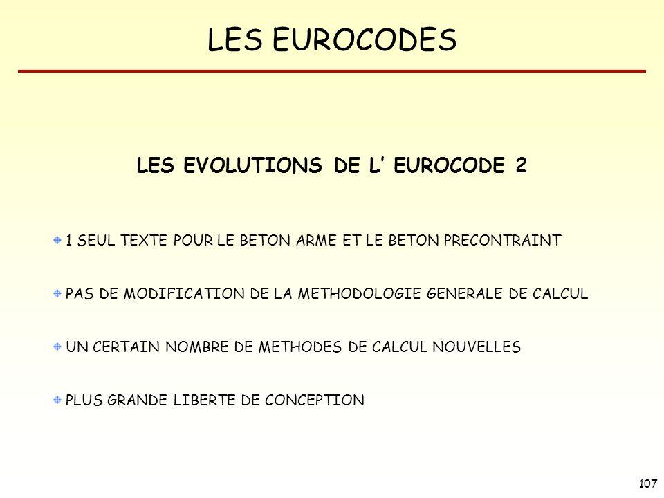 LES EVOLUTIONS DE L' EUROCODE 2
