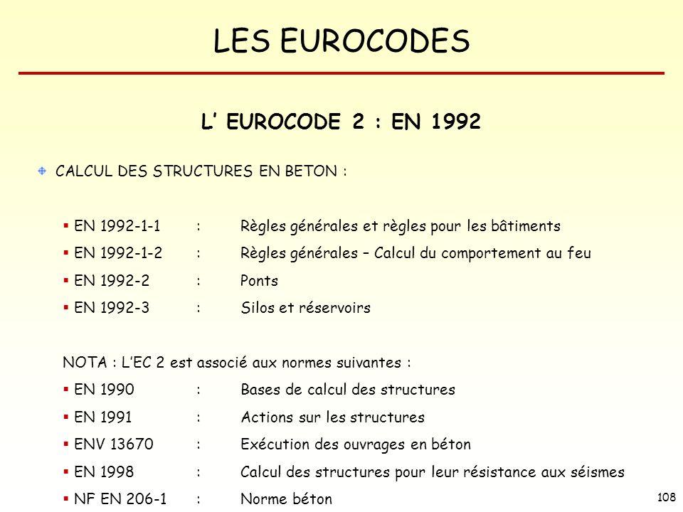 L' EUROCODE 2 : EN 1992 CALCUL DES STRUCTURES EN BETON :