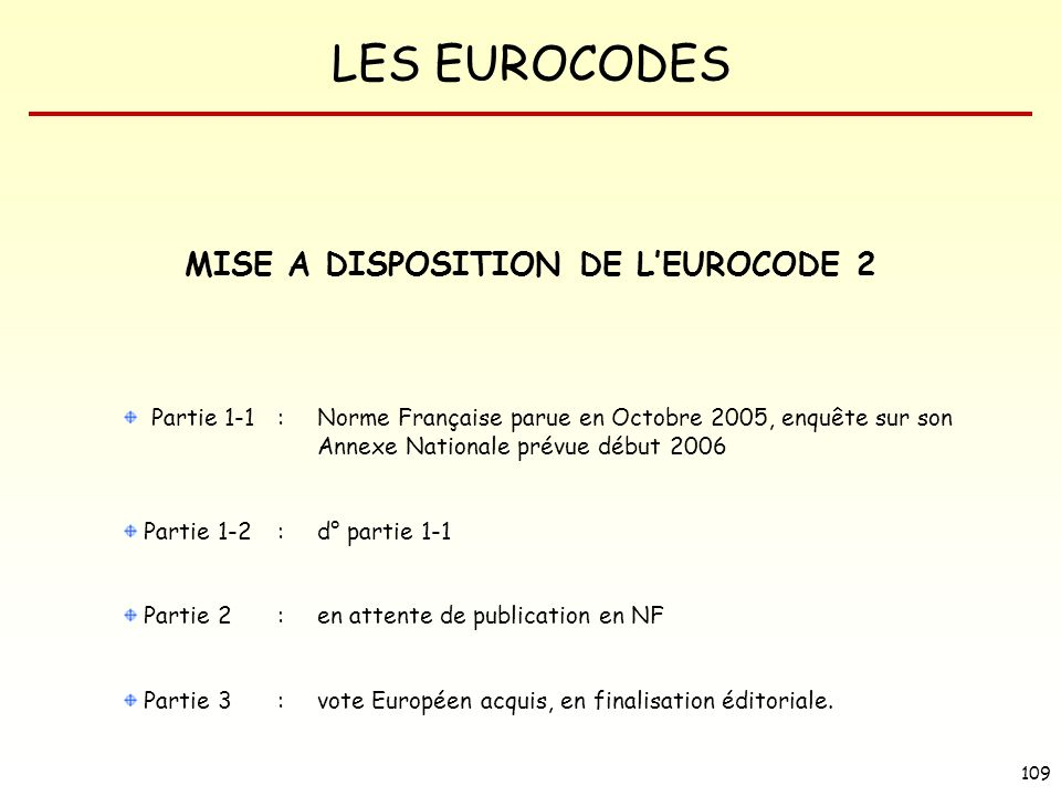 MISE A DISPOSITION DE L'EUROCODE 2
