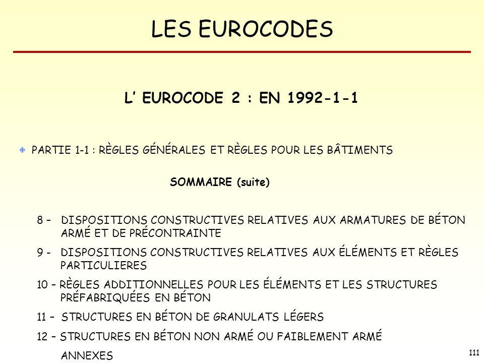 L' EUROCODE 2 : EN 1992-1-1 PARTIE 1-1 : RÈGLES GÉNÉRALES ET RÈGLES POUR LES BÂTIMENTS. SOMMAIRE (suite)