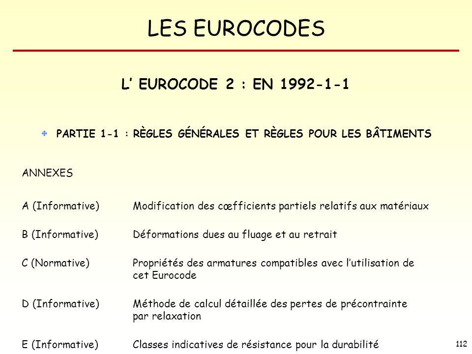 L' EUROCODE 2 : EN 1992-1-1 PARTIE 1-1 : RÈGLES GÉNÉRALES ET RÈGLES POUR LES BÂTIMENTS. ANNEXES.