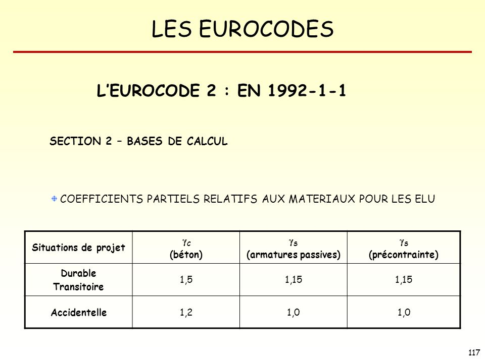 L'EUROCODE 2 : EN SECTION 2 – BASES DE CALCUL