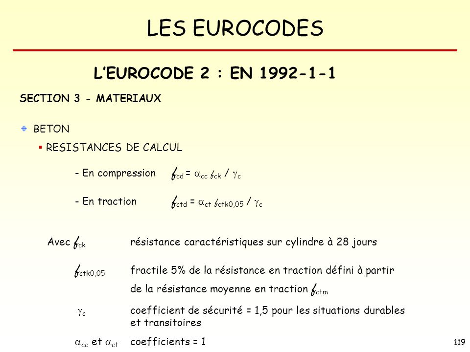 L'EUROCODE 2 : EN 1992-1-1 SECTION 3 - MATERIAUX BETON