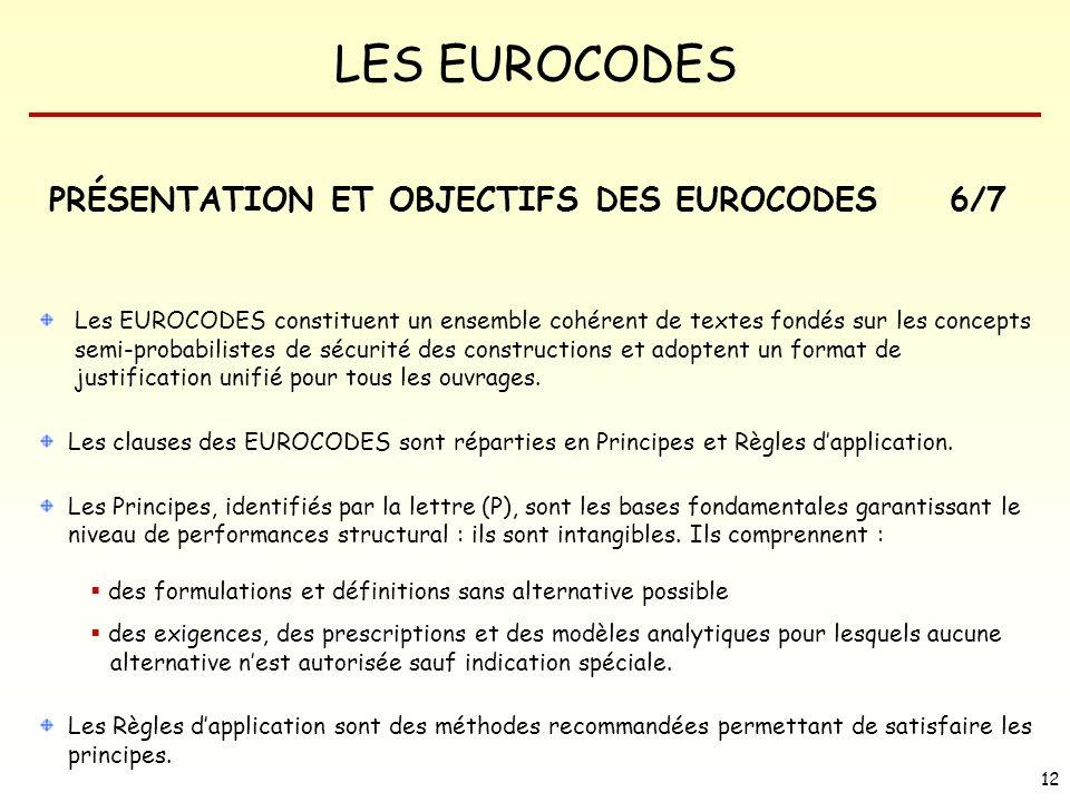 PRÉSENTATION ET OBJECTIFS DES EUROCODES 6/7