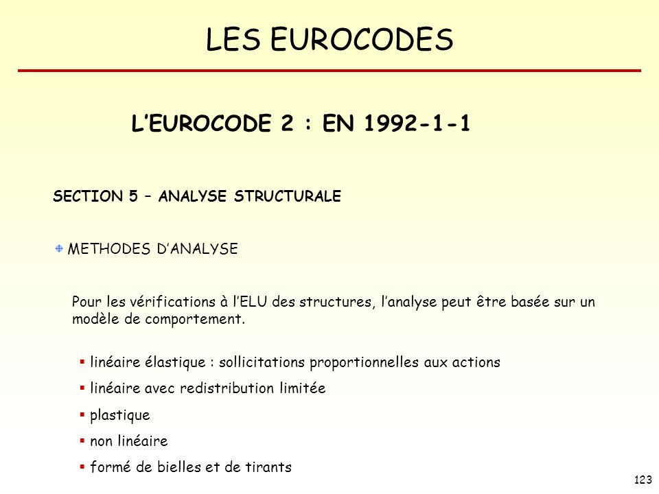L'EUROCODE 2 : EN 1992-1-1 SECTION 5 – ANALYSE STRUCTURALE