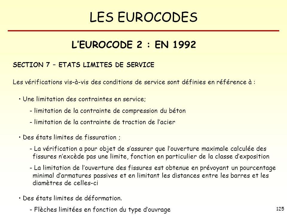 L'EUROCODE 2 : EN 1992 SECTION 7 – ETATS LIMITES DE SERVICE