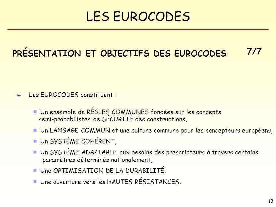 PRÉSENTATION ET OBJECTIFS DES EUROCODES 7/7