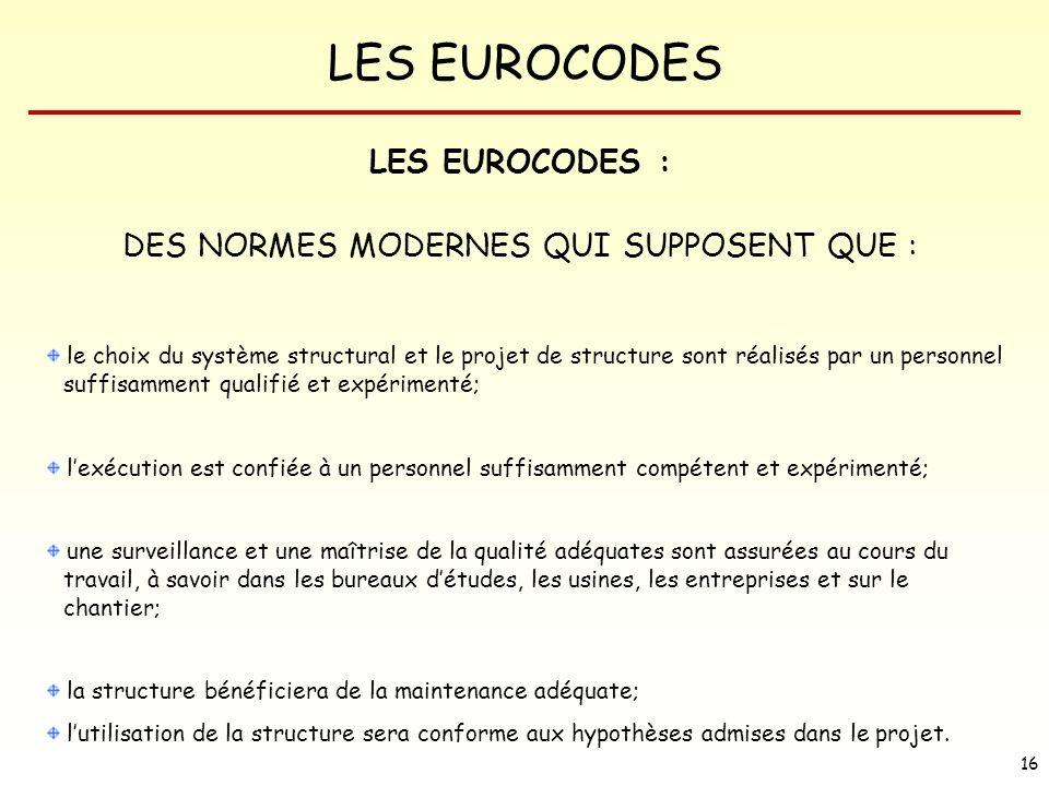 DES NORMES MODERNES QUI SUPPOSENT QUE :