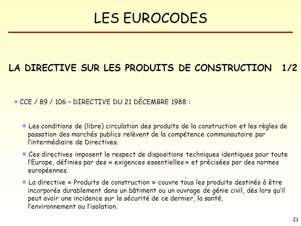LA DIRECTIVE SUR LES PRODUITS DE CONSTRUCTION 1/2