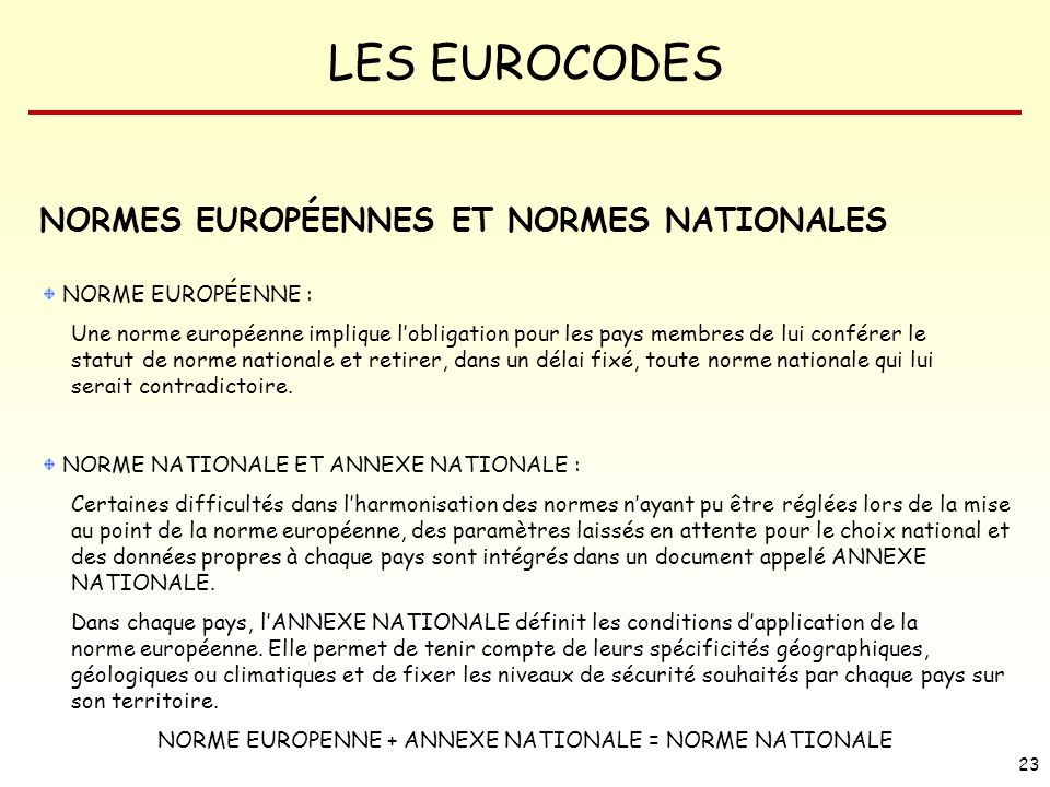 NORME EUROPENNE + ANNEXE NATIONALE = NORME NATIONALE