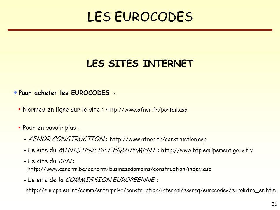 LES SITES INTERNET Pour acheter les EUROCODES :