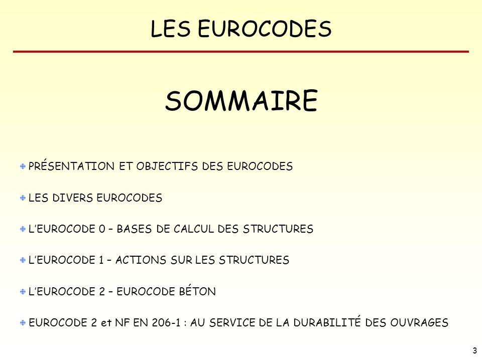 SOMMAIRE PRÉSENTATION ET OBJECTIFS DES EUROCODES LES DIVERS EUROCODES