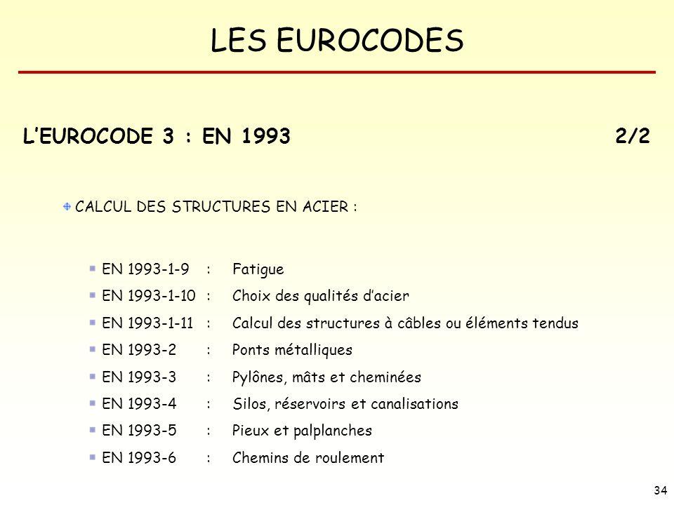 L'EUROCODE 3 : EN 1993 2/2 CALCUL DES STRUCTURES EN ACIER :