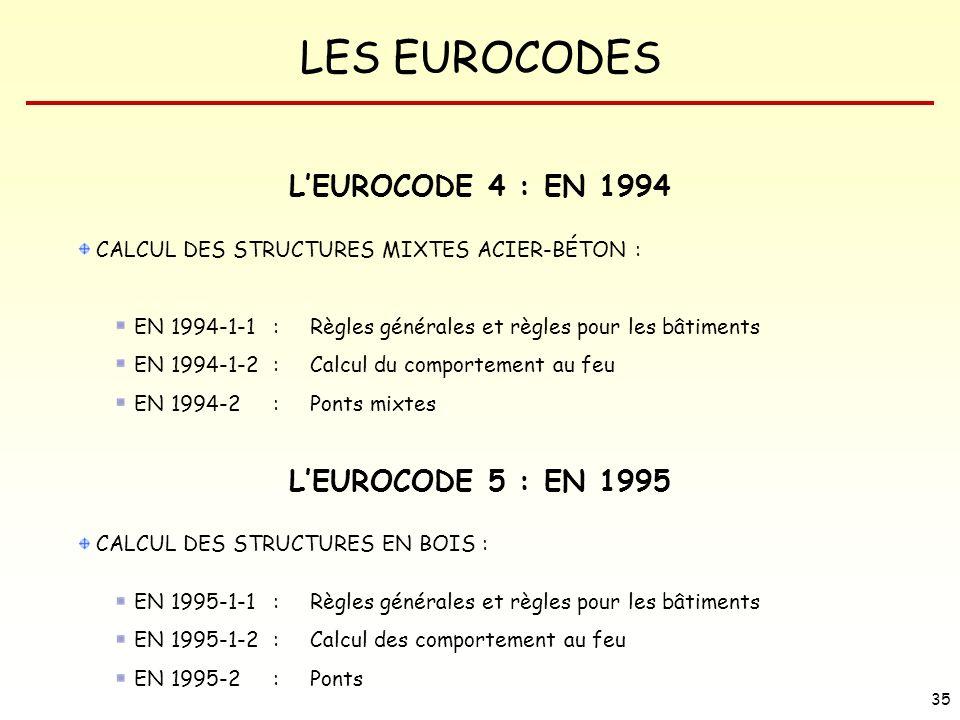 L'EUROCODE 4 : EN 1994 L'EUROCODE 5 : EN 1995