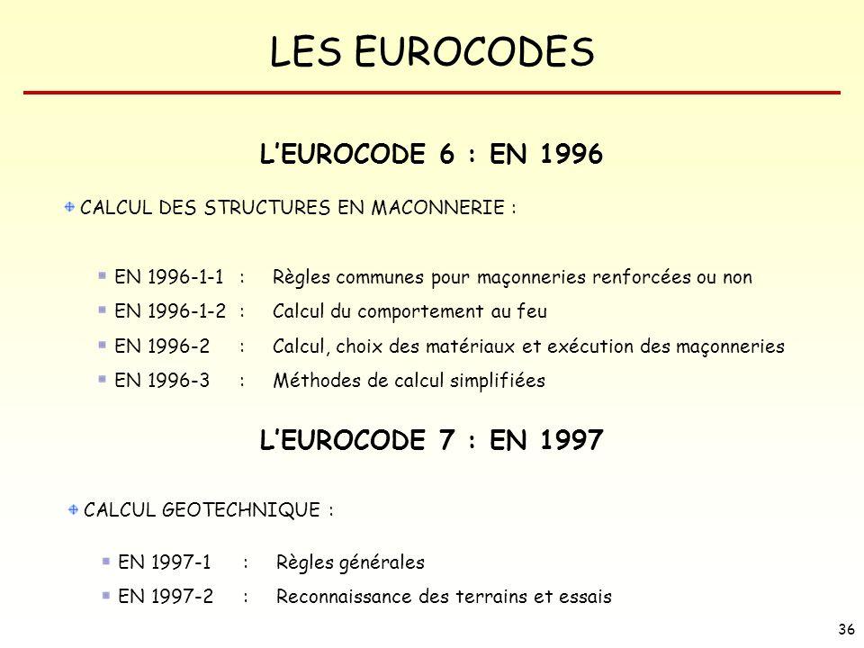 L'EUROCODE 6 : EN 1996 L'EUROCODE 7 : EN 1997