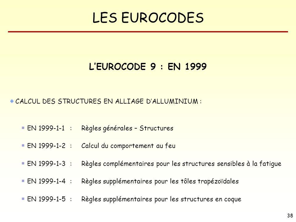L'EUROCODE 9 : EN 1999 CALCUL DES STRUCTURES EN ALLIAGE D'ALLUMINIUM :