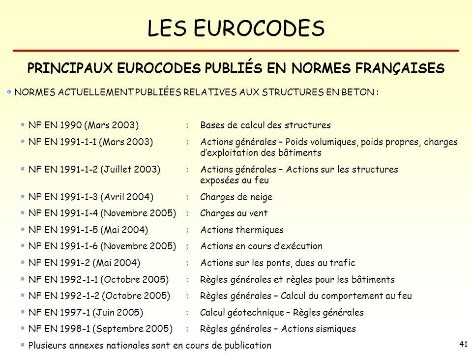 PRINCIPAUX EUROCODES PUBLIÉS EN NORMES FRANÇAISES